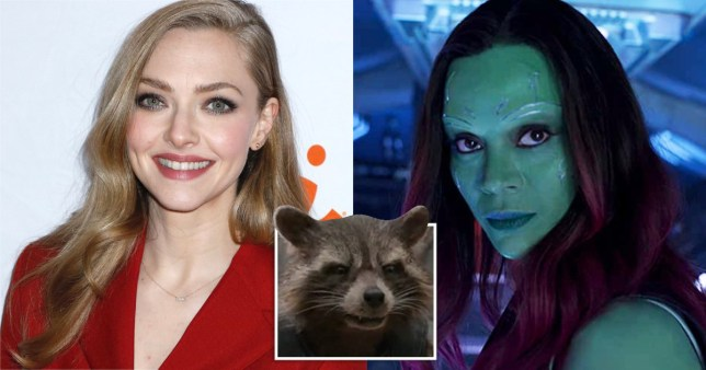 Amanda Seyfried with Gamora and Rocket Raccoon in Guardians of the Galaxy