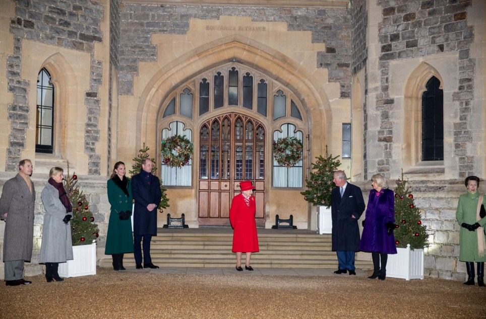 Prince Edward, Sophie Countess of Wessex, Catherine Duchess of Cambridge, Prince William, Queen Elizabeth II, Prince Charles and Camilla Duchess of Cornwall thank key workers at Windsor Castle