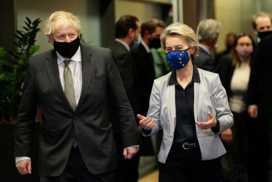 European Commission President Ursula von der Leyen, right, speaks with British Prime Minister Boris Johnson prior to a meeting at EU headquarters in Brussels, Wednesday, Dec. 9, 2020. Leaders of Britain and the EU meet Wednesday for a dinner that could pave the way to a post-Brexit trade deal, or tip the two sides toward a chaotic economic rupture at the end of the month. (Olivier Hoslet, Pool via AP)