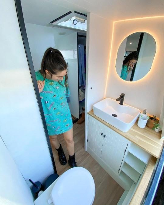bathroom of schoolbus home