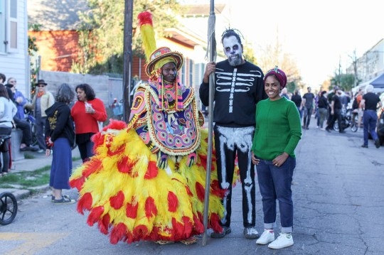 WARNING: Embargoed for publication until 00:00:01 on 28/11/2020 - Programme Name: Nadiya's American Adventure - TX: n/a - Episode: Louisiana (No. 1) - Picture Shows: joins the Mardi Gras party, New Orleans. **STRICTLY EMBARGOED NOT FOR PUBLICATION UNTIL 00:01 HRS ON SATURDAY 28TH NOVEMBER 2020** Nadiya Hussain - (C) Wall to Wall Media Ltd - Photographer: Tom Kirkman