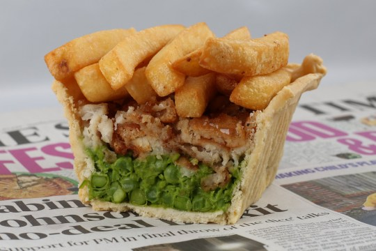 a fish and chip pie
