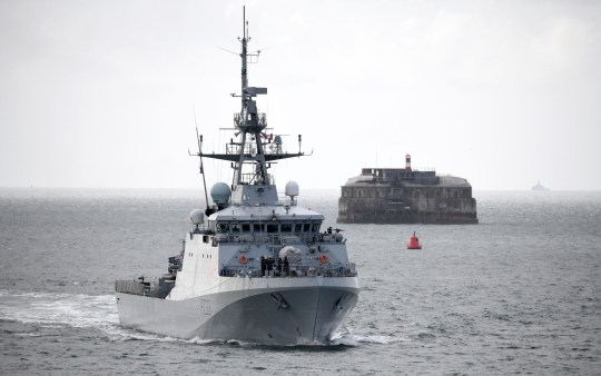 Pictured 1/5/2020 is HMS Tamar arriving back to Portsmouth, Hampshire. The Daily Mail reported four Royal Navy ships will patrol UK fishing waters against French trawlers if there is No Deal Brexit - two Batch 1 vessels and two Batch 2 vessels. The Royal Navy?s newest and greenest ship HMS Tamar - Batch 2, has a lion from the vessel's badge painted on its side. The ship is the first of her class to have a urea filter installed which will reduce damaging diesel exhaust emissions by about 90%, with a range of 5500 nautical miles, top speed of 20+ knots and a maximum crew size of 60. Pennant number P233. Please credit: Paul Jacobs/pictureexclusive.com Standard reproduction rates apply, contact Paul Jacobs, Picture Exclusive to arrange payment - 07923 866166, pictureexclusive@gmail.com