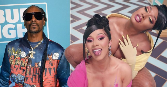 Cardi B and Megan Thee Stallion in WAP music video and Snoop Dogg