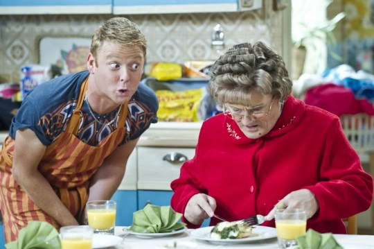 Gary Hollywood as Rory Brown and Brendan O'Carroll as Agnes Brown in Mrs Brown's Boys