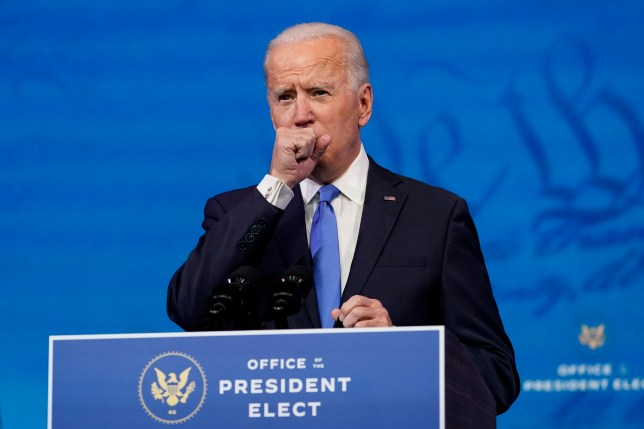 Joe Biden clearing his throat while giving speech on Monday