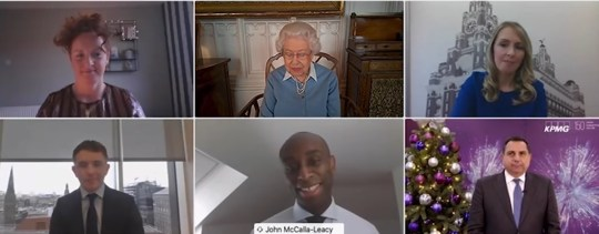 The Queen on a Zoom call with KPMG on December 15, 2020