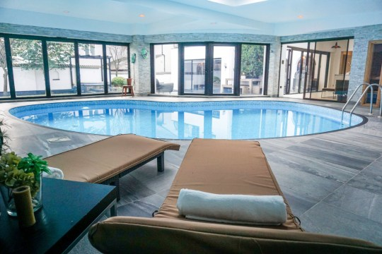 swimming pool in spanish style villa in sheffield