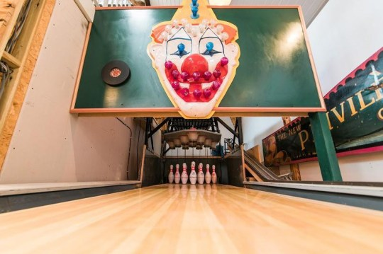 a bowling alley in a living room