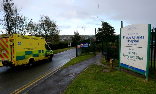 A general view of an emergency ambulance entering Prince Charles Hospital on October 9, 2020 in Merthyr Tydfil, Wales.
