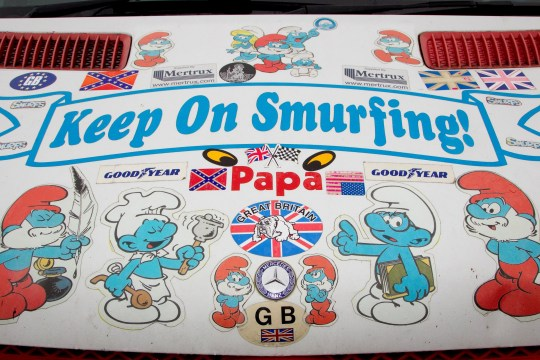 FILE PICTURE - Robin White's Smurf van. See SWNS story SWMDsmurf. A Smurfs toy collector who dubs himself 'Papa Smurf' has been exposed as a child rapist and has been jailed for 16 years. Robin White is known for his large collection of Smurfs toys and memorabilia, which he showcased in displays in his van. But underneath his persona, the 65-year-old was really a vile sex offender. The victim, who is now an adult, bravely reported how she had been sexually abused. The attacks happened when she was aged under 16, and from the witness box, she described in full the sexual abuse she suffered at the hands of White, including him using the sex toy on her and raping her in the shed. In 2017, the depraved paedophile made headlines after he claimed his collection of more than 10,000 items of Smurfs memorabilia was the largest on the planet.