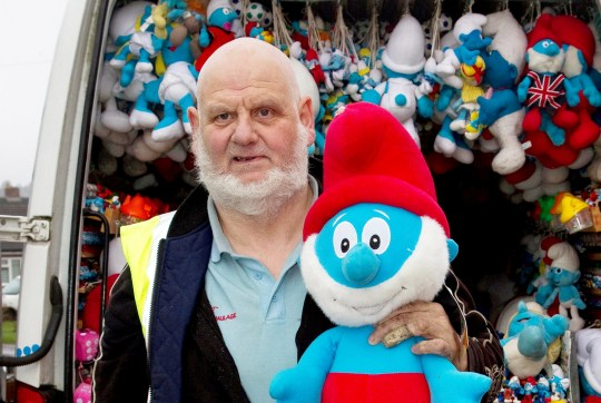 FILE PICTURE - Robin White with his Smurf collection. See SWNS story SWMDsmurf. A Smurfs toy collector who dubs himself 'Papa Smurf' has been exposed as a child rapist and has been jailed for 16 years. Robin White is known for his large collection of Smurfs toys and memorabilia, which he showcased in displays in his van. But underneath his persona, the 65-year-old was really a vile sex offender. The victim, who is now an adult, bravely reported how she had been sexually abused. The attacks happened when she was aged under 16, and from the witness box, she described in full the sexual abuse she suffered at the hands of White, including him using the sex toy on her and raping her in the shed. In 2017, the depraved paedophile made headlines after he claimed his collection of more than 10,000 items of Smurfs memorabilia was the largest on the planet.