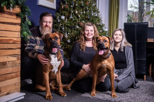 Mark and Sarah Broomhead, with their daughter Eden and dogs Luther and Jessie