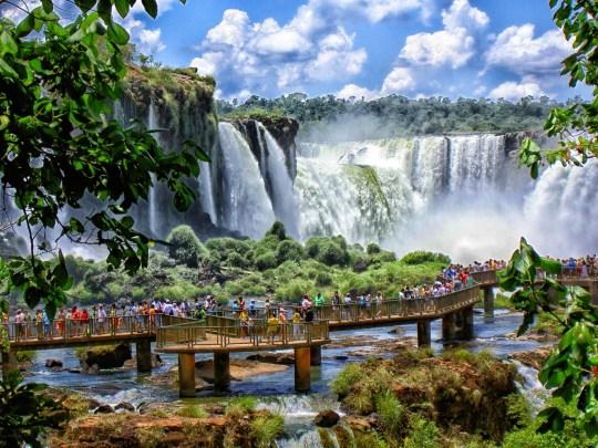 World famous waterfall Cataratas - Foz do Iguazu at the border of Brazil and Argentina.