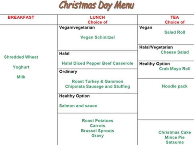 Christmas Day menus at Britain's most high-security jails reflect changing times (Picture: MoJ/Metro)