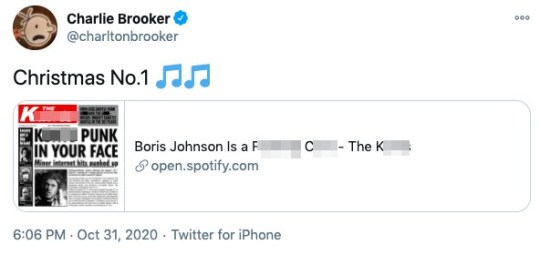 Charlie Brooker tweets about Boris Johnson song