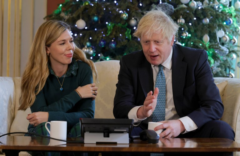 22/12/2020. London, United Kingdom. Boris Johnson and Carrie Symonds Call Mary Beggs-Reid. The Prime Minister Boris Johnson and his partner Carrie Symonds call Mary Beggs-Reid from inside No10 Downing Street, Mary has come up with the Christmas Eve Jingle idea to help combat loneliness at Christmas. Picture by Andrew Parsons / No 10 Downing Street