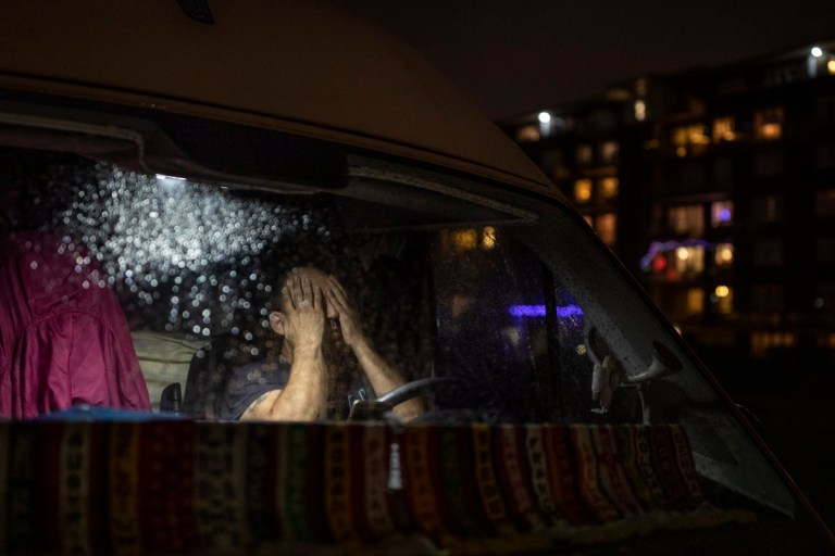 A Spanish driver sits in his van as he waits at the entry to the port on December 22, 2020 in Dover, England.