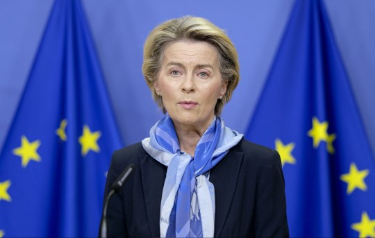Mandatory Credit: Photo by Nicolas Landemard/Le Pictorium Agency via ZUMA/REX (11662456k) The President of the European Commission, Ursula von der Leyen, today gave a press conference confirming Europe's authorisation for the marketing and distribution of the coronavirus vaccine from the Pfizer/BioNTech laboratories. Press conference by Ursula Von Der Leyen, Brussels, Belgium - 21 Dec 2020