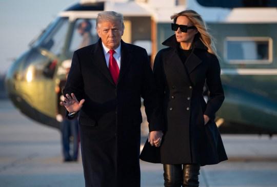Donald and Melania Trump leaving for Florida