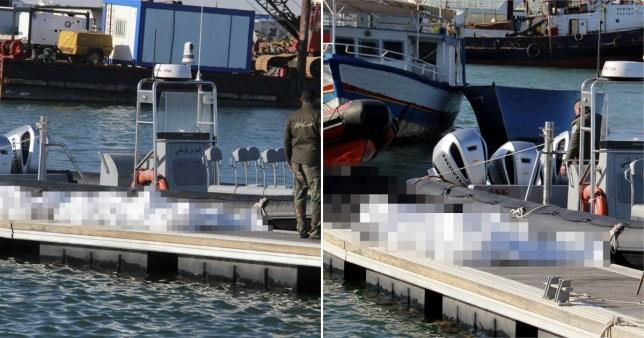 Des sacs mortuaires transportant quatre femmes enceintes qui faisaient partie des 20 migrants décédés après le naufrage d'un navire lors d'un voyage de Tunisie en Italie.