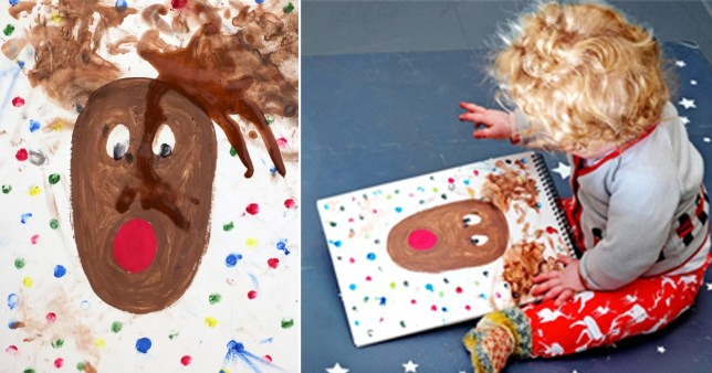 Baby Wildfred and his picture of a reindeer