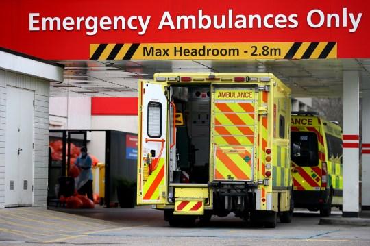 Ambulances parked outside the St Thomas' Hospital emergency department