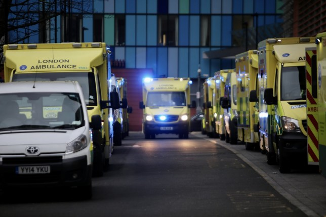 A great number of ambulances wait outside London Royal Hospital as the number of coronavirus cases surge