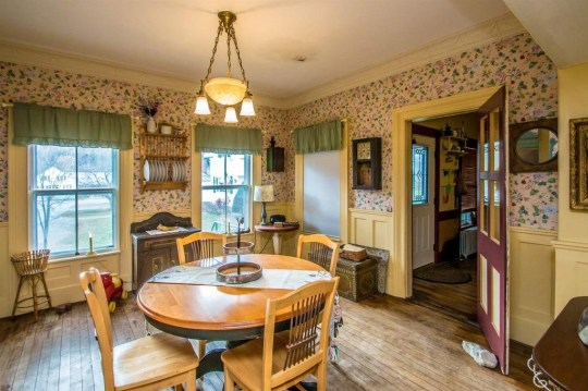 dining area in vermont jailhouse cottage.