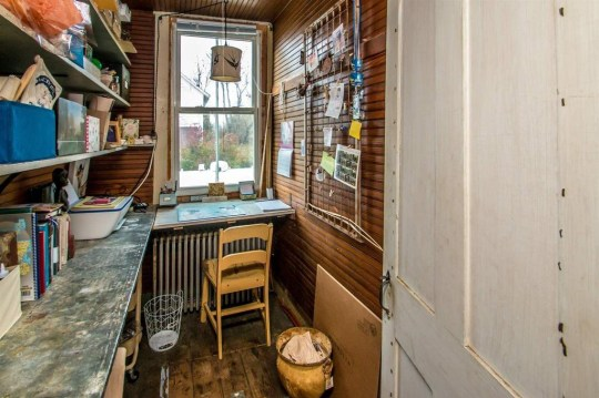 home office in jailhouse cottage in vermont