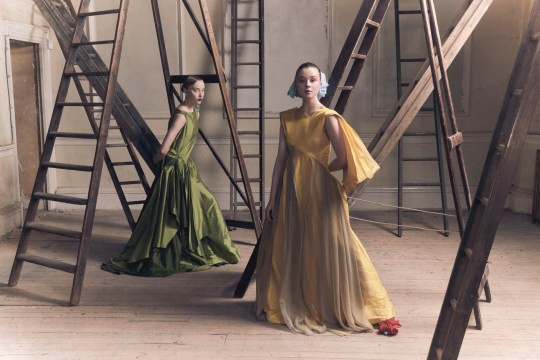 EMBARGOED TO 1400 WEDNESDAY DECEMBER 30 Undated handout photo issued British Fashion Council ofPhoebe Dynevor and Claudia Jessie wearing Shanti Bell. Netflix has partnered with the British Fashion Council to commission up-and-coming designer to create regency garments inspired by its new hit series Bridgerton. PA Photo. Issue date: Wednesday December 30, 2020. See PA story SHOWBIZ Bridgerton. Photo credit should read: British Fashion Council/PA Wire NOTE TO EDITORS: This handout photo may only be used in for editorial reporting purposes for the contemporaneous illustration of events, things or the people in the image or facts mentioned in the caption. Reuse of the picture may require further permission from the copyright holder.