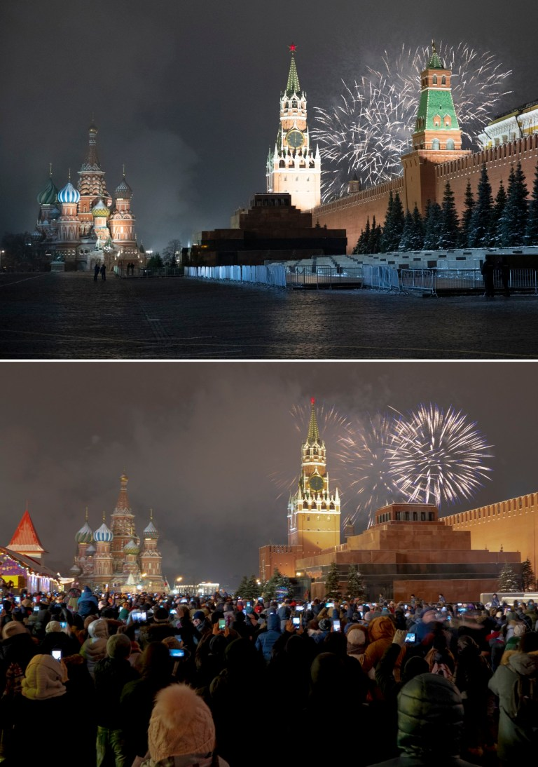 This combo image shows at top fireworks exploding over the Kremlin in Moscow in 2019