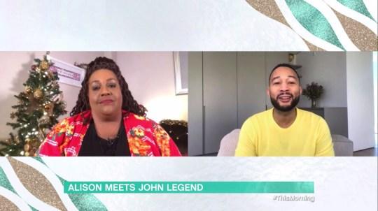 Alison Hammond and john Legend on this morning