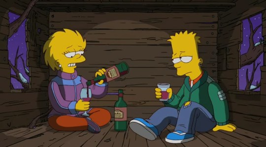 Lisa and Bart Simpson in The Simpsons.