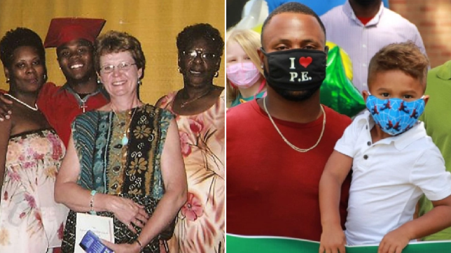 Old photo of Darrion Cockrell with his mother, grandmother and foster mother, and Darrion now with his son
