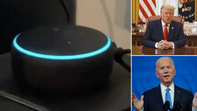 Amazon Echo, Donald Trump and Joe Biden