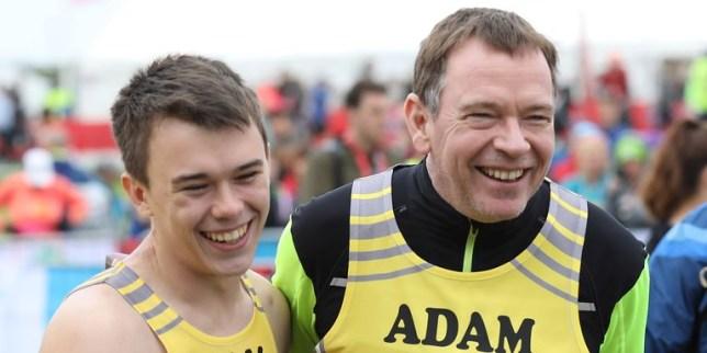 Adam Woodyatt and son Sam in EastEnders