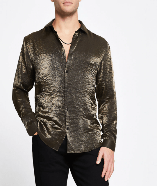 gold long sleeve slim fit shirt from river island