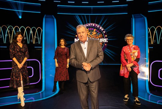 Ronni Ancona, Kym Marsh and Prue Leith with presenter Jeremy Clarkson