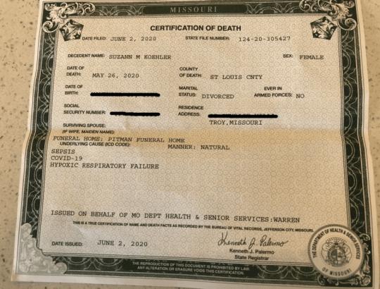 Screengrab of death certificate