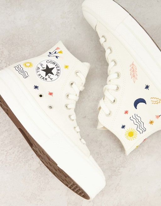 Cream converse with embroidery