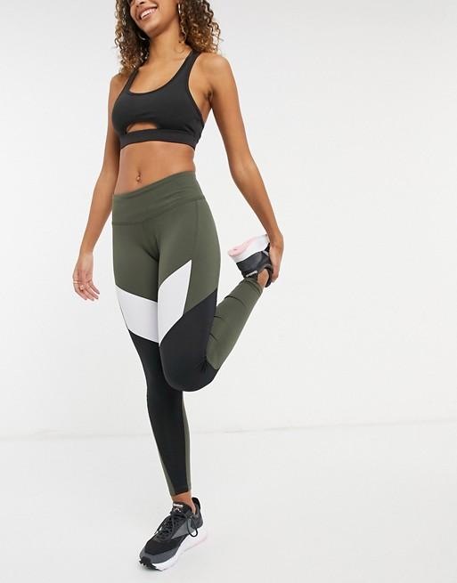 Khaki Reebok training leggings