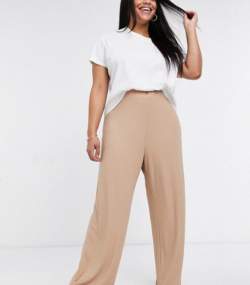 Camel ribbed trousers