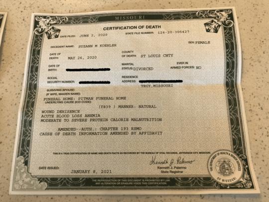 Alternative death certificate