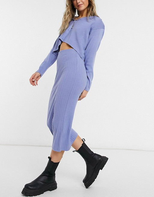 Blue knitted cardigan and skirt co-ord
