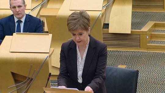 Nicola Sturgeon announcing restrictions