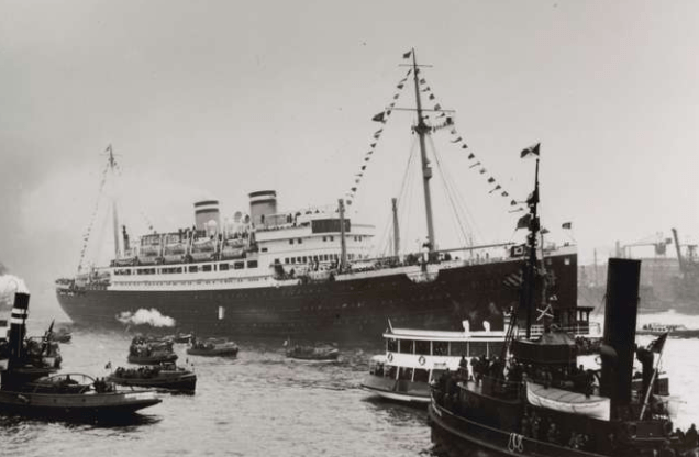 Black and white photo of old passenger ship