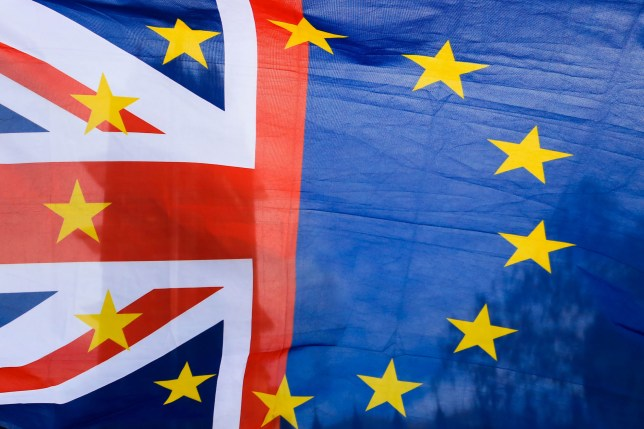 European Union and British Flag