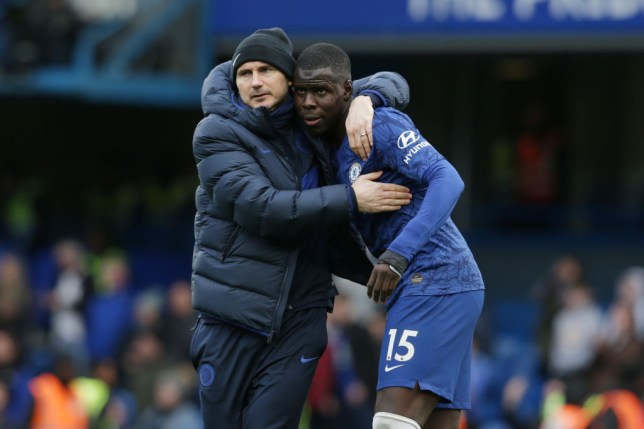 Frank Lampard and Kurt Zouma of Chelsea after their sides 4-0 win during the Premier League match between Chelsea FC and Everton FC at Stamford Bridge on March 08, 2020 in London, United Kingdom.