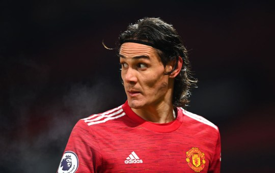 Edinson Cavani of Manchester United during the Premier League match between Manchester United and Wolverhampton Wanderers at Old Trafford on December 29, 2020 in Manchester, United Kingdom. The match will be played without fans, behind closed doors as a Covid-19 precaution.